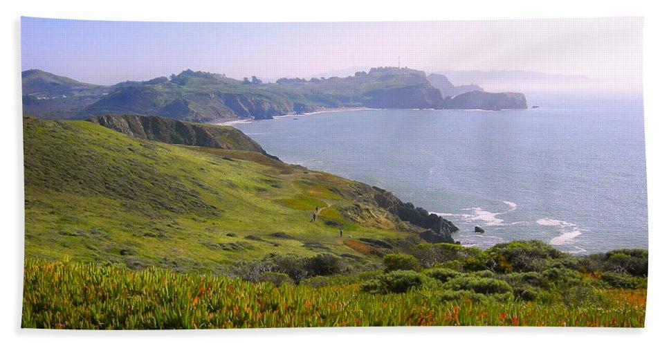 Landscape Beach Towel featuring the photograph Marin Headlands 2 by Karen W Meyer