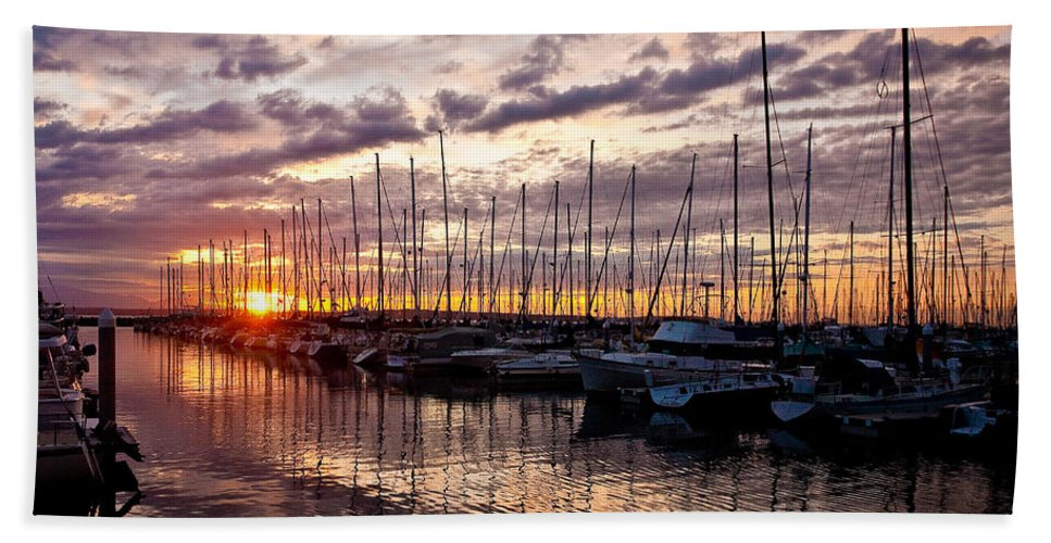 Sunset Beach Towel featuring the photograph Marina Sunset by Mike Reid
