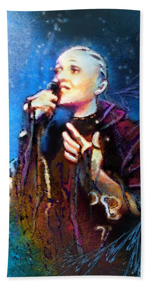Music Beach Towel featuring the painting Mariza by Miki De Goodaboom