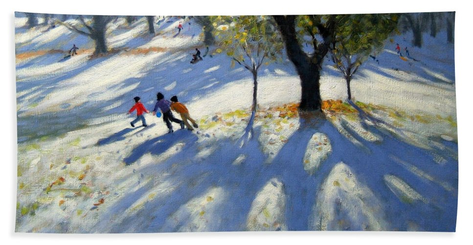 English Landscape Beach Towel featuring the painting Markeaton Park Early Snow by Andrew Macara