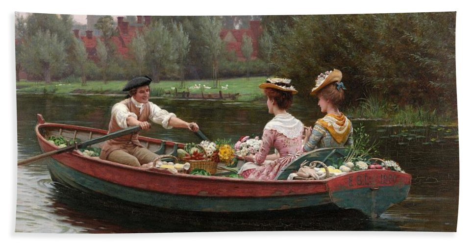 Market Day Beach Towel featuring the painting Market Day by Edmund Blair Leighton