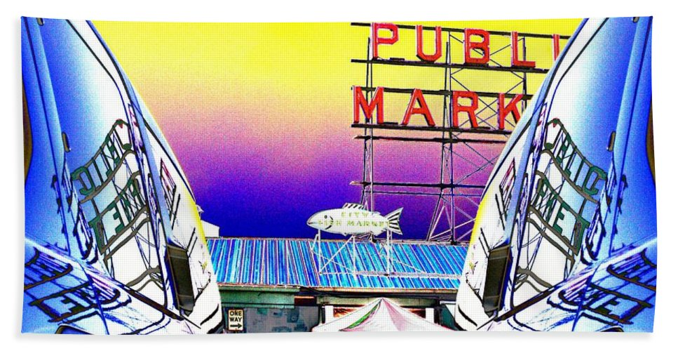 Seattle Beach Towel featuring the photograph Market Reflect by Tim Allen
