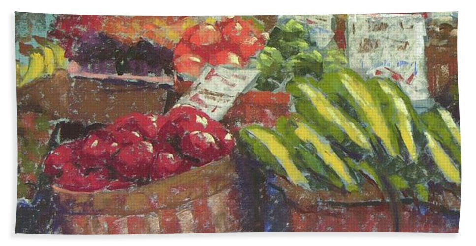 Pike Place Market Beach Towel featuring the painting Market Stacker by Mary McInnis