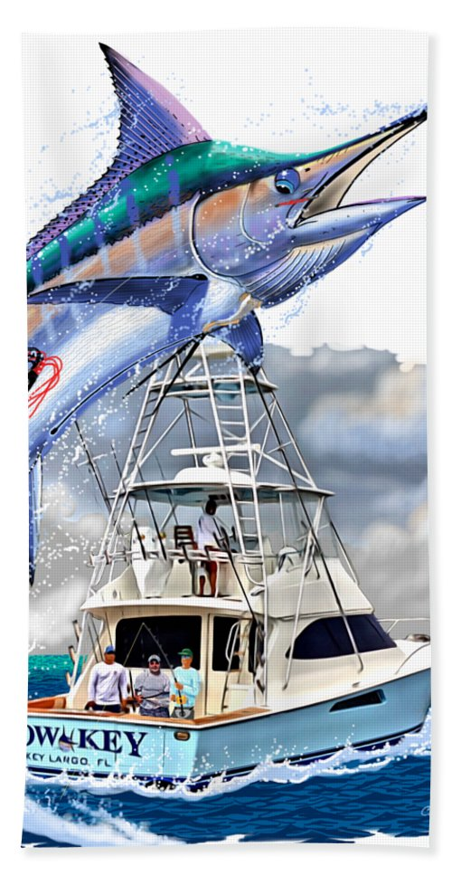 Marlin Beach Towel featuring the digital art Marlin Commission by Carey Chen