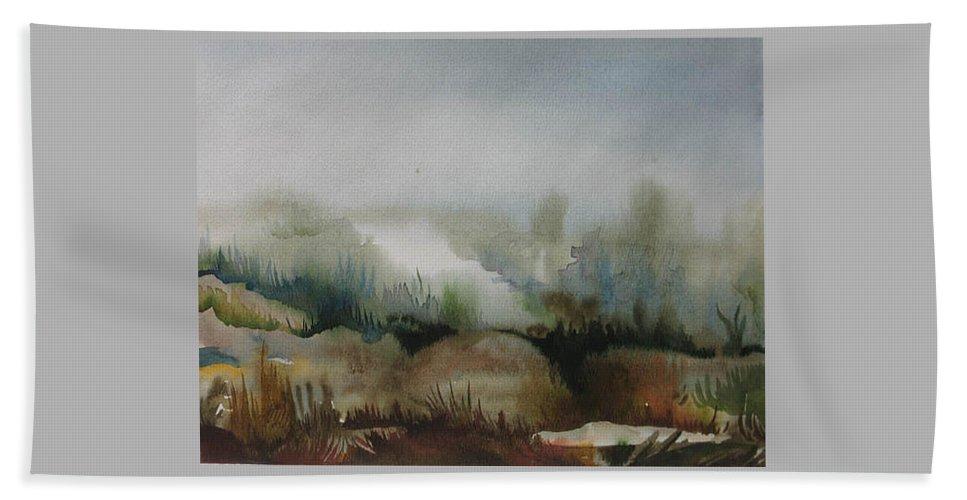 Marsh Beach Towel featuring the painting Marsh by Anna Duyunova