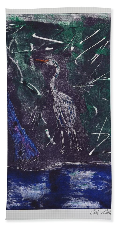 Monotype Beach Towel featuring the mixed media Marsh Magic by Cori Solomon