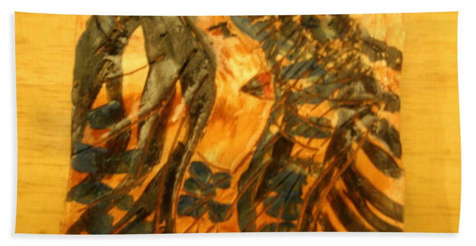 Jesus Beach Towel featuring the ceramic art Martha And Babe - Tile by Gloria Ssali