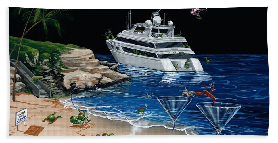 Taking A Break Beach Towel featuring the painting Martini Cove La Jolla by Michael Godard