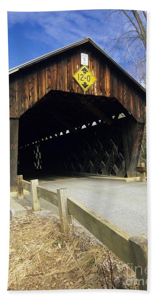 Bridge Beach Sheet featuring the photograph Martinsville Covered Bridge- Hartland Vermont Usa by Erin Paul Donovan