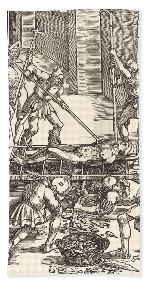 Beach Towel featuring the drawing Martyrdom Of Saint Lawrence by Hans Baldung Grien
