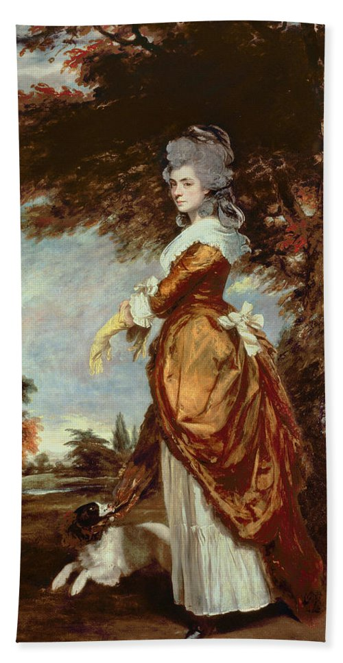 Woman Beach Towel featuring the painting Mary Amelia First Marchioness Of Salisbury by Sir Joshua Reynolds