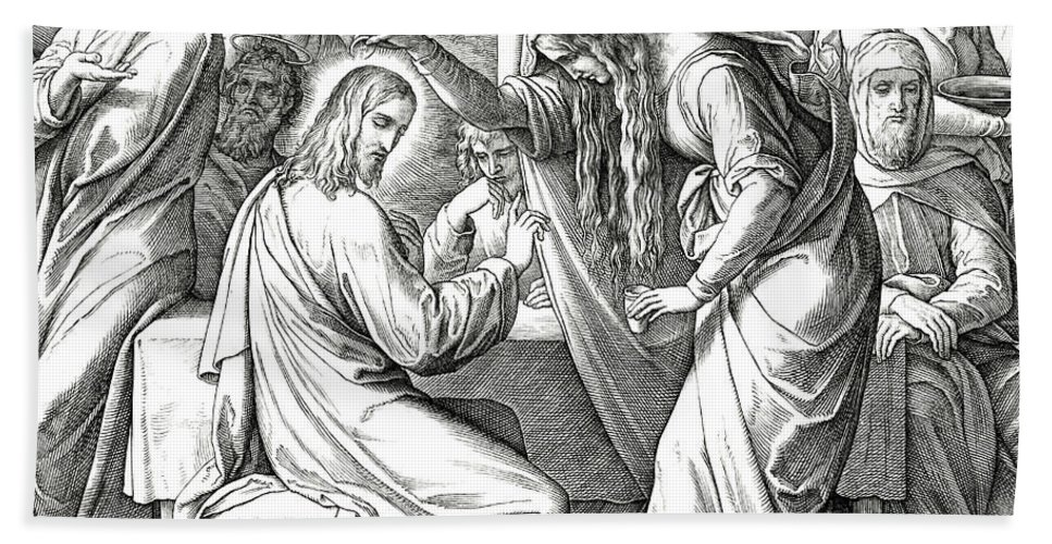 Mary Magdalene Anoints Jesus Beach Towel featuring the drawing Mary Anoints Jesus by Julius Schnorr von Carolsfeld