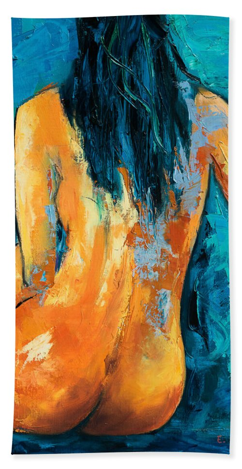 Nude Beach Towel featuring the painting Mary Lou by Elise Palmigiani