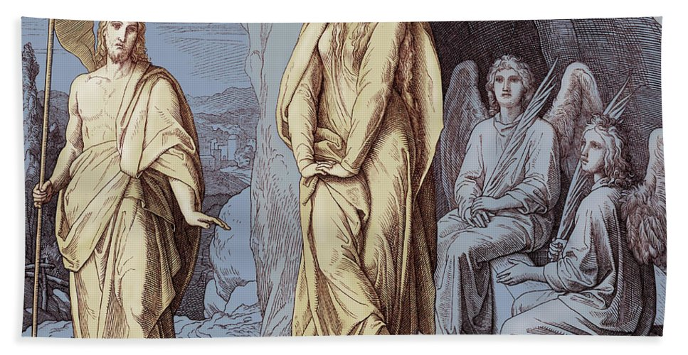 Mary Magdalene Beach Towel featuring the drawing Mary Magdalene At The Tomb Of Christ, Gospel Of John by Julius Schnorr von Carolsfeld
