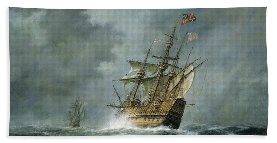 Mary Rose Beach Towel featuring the painting Mary Rose by Richard Willis
