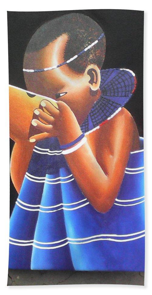 Beach Towel featuring the drawing Masaai Kid by Amos Murigi