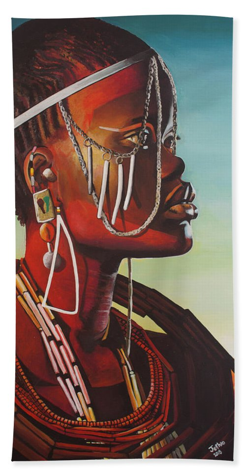African Art Beach Towel featuring the painting Masai by Jethro Longwe