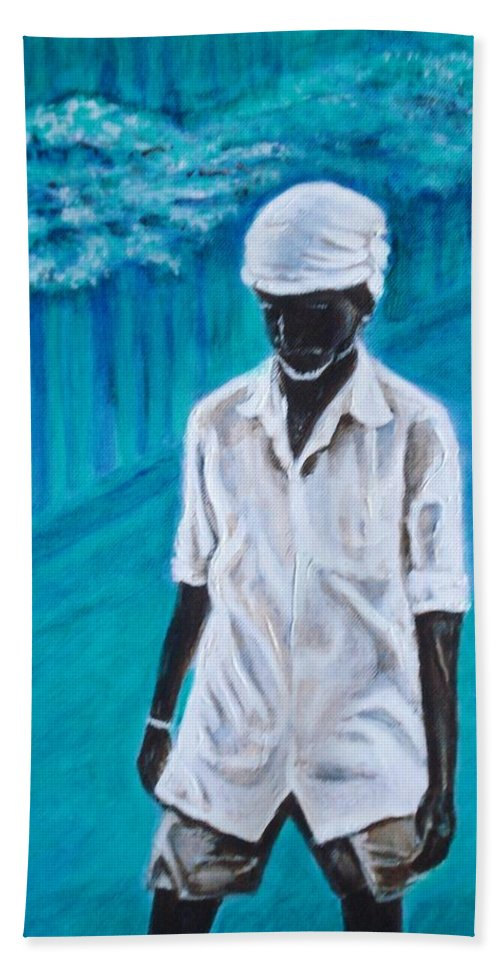 Usha Beach Towel featuring the painting Mason by Usha Shantharam