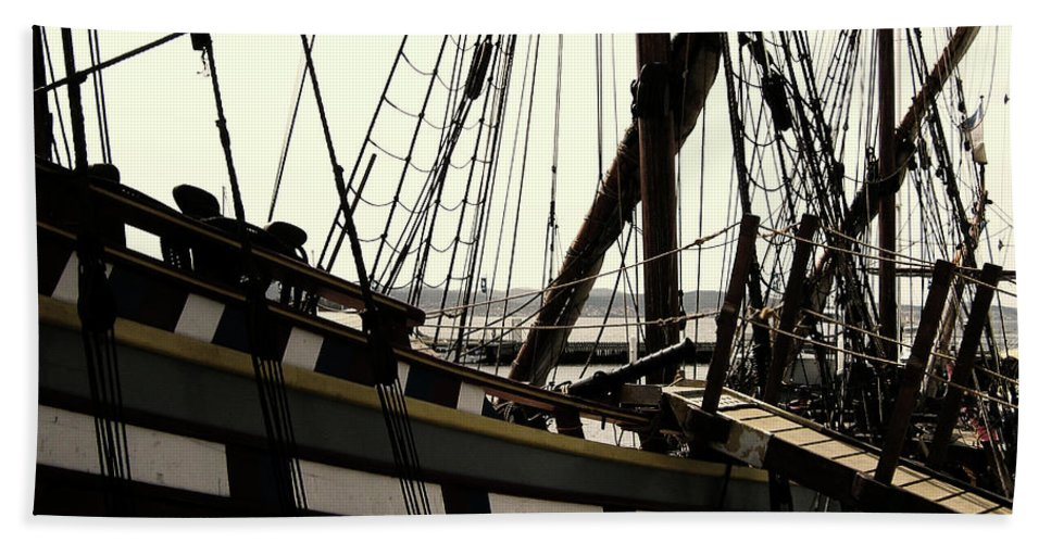 Wooden Ship Beach Towel featuring the photograph Master And Commander V2 by Douglas Barnard