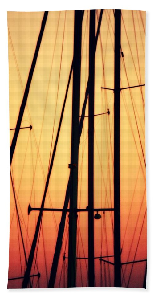 Boat Mast Beach Towel featuring the photograph Master Sunset by Mandy Shupp