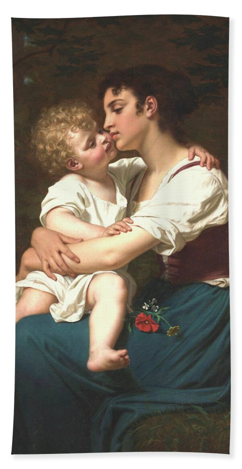 Maternal Love Beach Towel featuring the painting Maternal Love by Hugues Merle