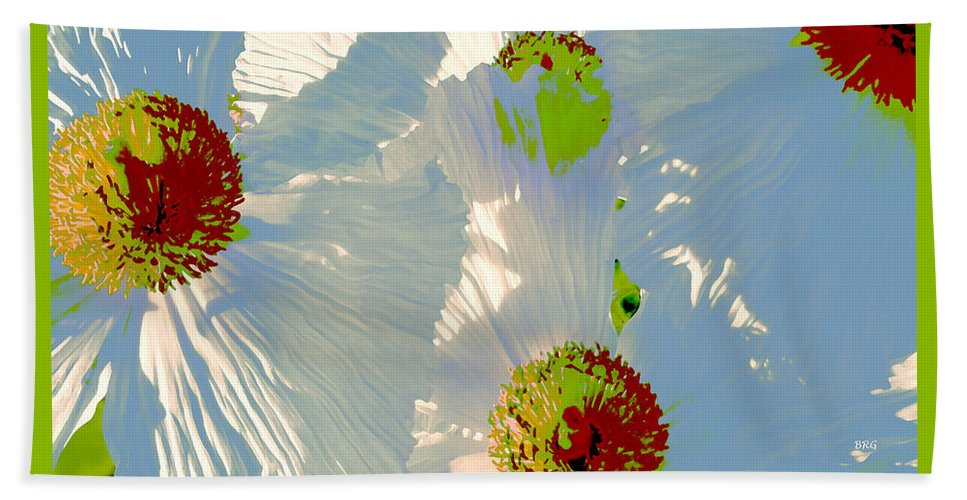 Floral Abstract Beach Towel featuring the photograph Matilija Poppies Pop Art by Ben and Raisa Gertsberg