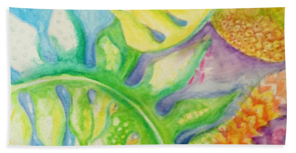 Hawaiian Art Beach House. Water Color Beach Towel featuring the painting May Day Is Lei Day by Jamie Laniakea Clark