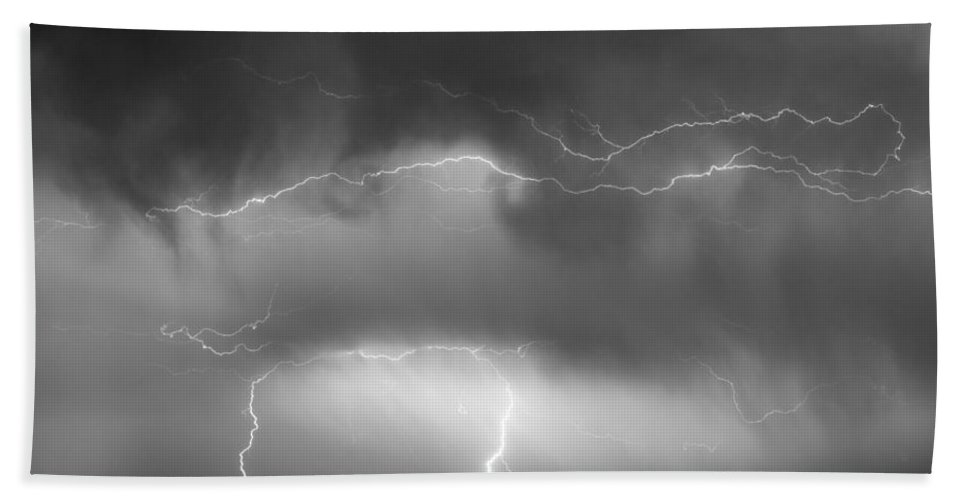 bo Insogna Beach Towel featuring the photograph May Showers - Lightning Thunderstorm Bw 5-10-2011 by James BO Insogna