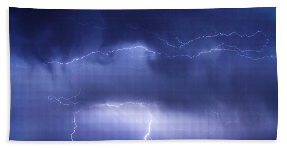 james Insogna Beach Towel featuring the photograph May Showers - Lightning Thunderstorm 5-10-2011 by James BO Insogna
