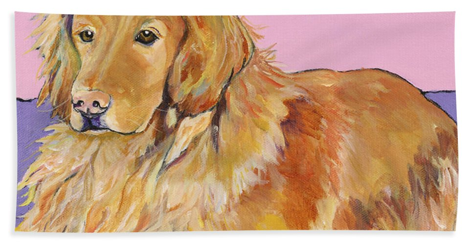 Golden Retriever Beach Towel featuring the painting Maya by Pat Saunders-White