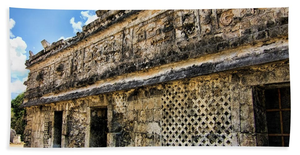 Chichen Itza Beach Towel featuring the photograph Mayan Graffiti by Douglas Barnard