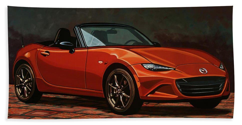Mazda Mx-5 Miata Beach Towel featuring the painting Mazda Mx-5 Miata 2015 Painting by Paul Meijering