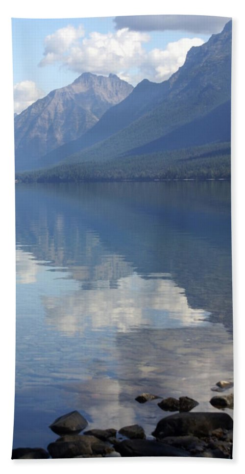 Lake Mcdonald Beach Towel featuring the photograph Mcdonald Reflection by Marty Koch