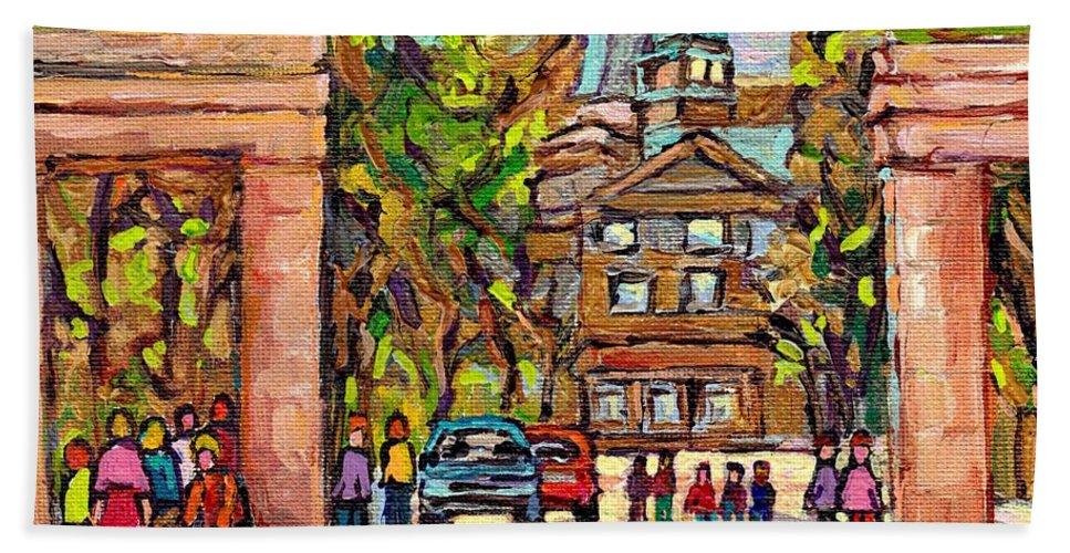 Mcgill University Beach Towel featuring the painting Mcgill Gates Entrance Of Mcgill University Montreal Quebec Original Oil Painting Carole Spandau by Carole Spandau