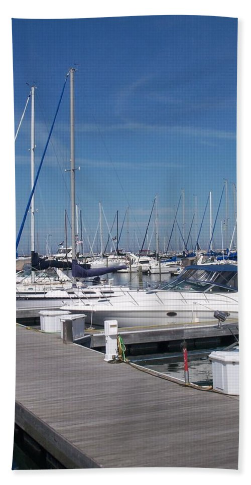 Mckinley Marina Beach Sheet featuring the photograph Mckinley Marina 6 by Anita Burgermeister