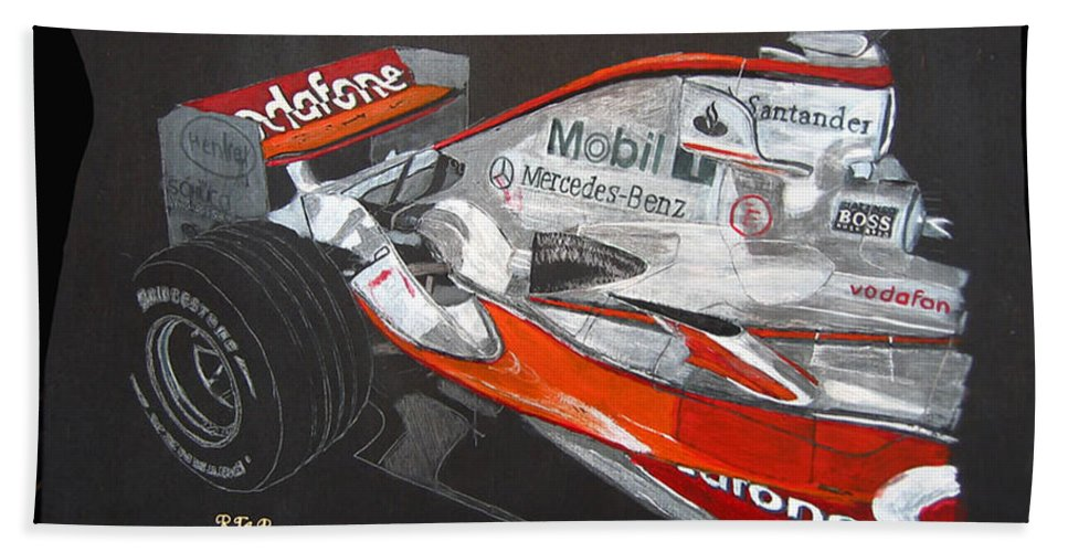 Mclaren Beach Towel featuring the painting Mclaren F1 Alonso by Richard Le Page
