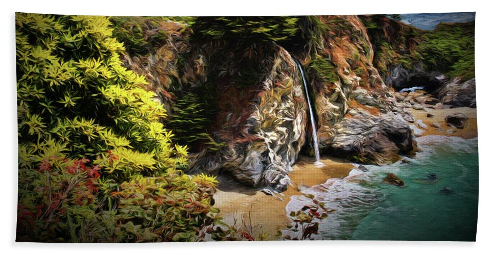 Mcway Cove Beach Towel featuring the photograph Mcway Falls Painting by Judy Vincent