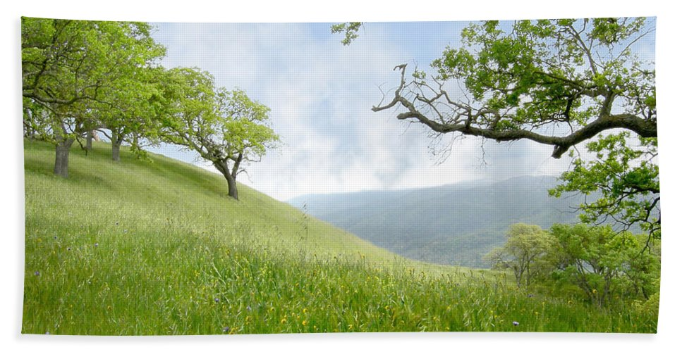 Landscape Beach Towel featuring the photograph Meadow View Spring by Karen W Meyer