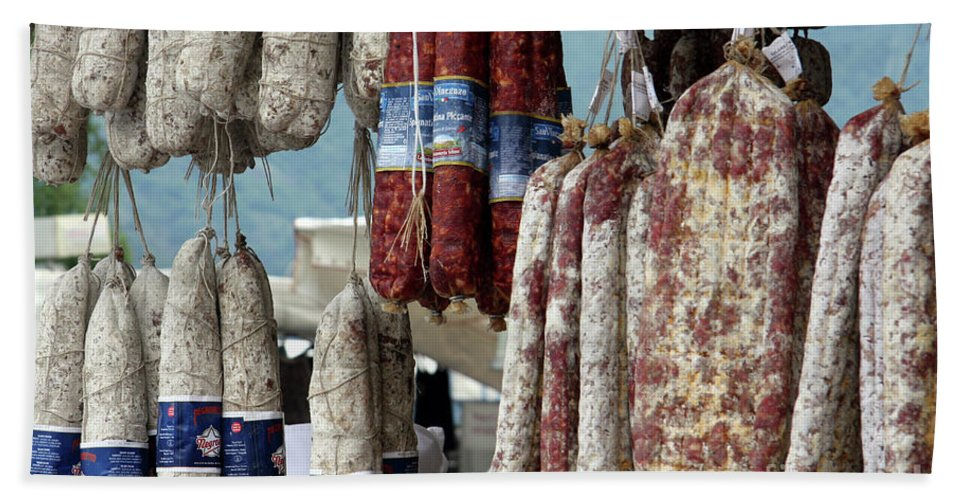 Italy Beach Towel featuring the photograph Meats And Sausages by Amos Dor