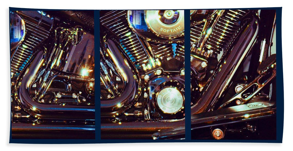 Harley Davidson Beach Towel featuring the photograph Mechanism by Steve Karol