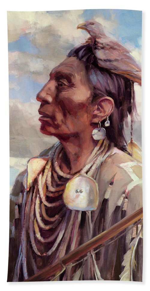 Native American Beach Towel featuring the painting Medicine Crow by Steve Henderson