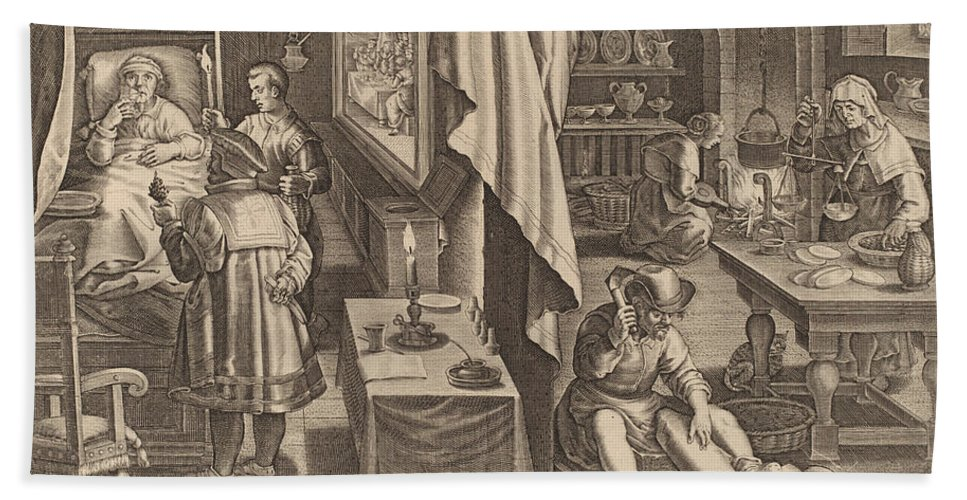 Beach Towel featuring the drawing Medicine: Pl.6 by Theodor Galle After Jan Van Der Straet