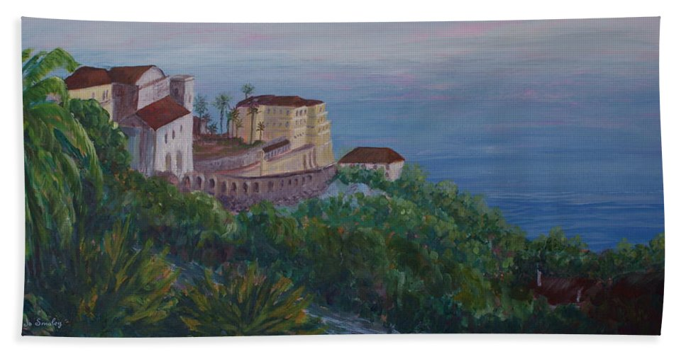 Capri Beach Towel featuring the painting Mediterranean Overview by Joanne Smoley