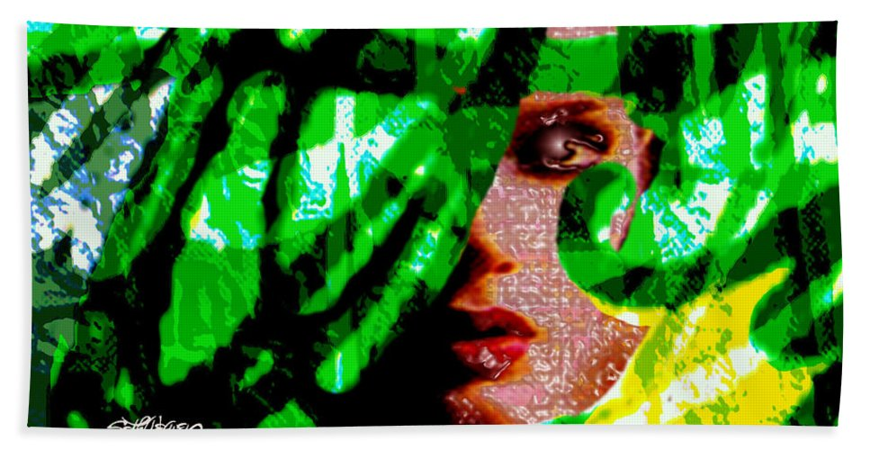 Abstract Beach Towel featuring the digital art Medusa 1-26 by Seth Weaver