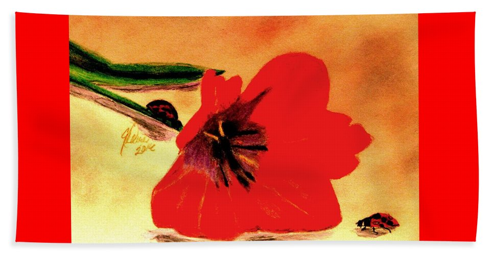 Red Tulips Beach Sheet featuring the drawing Meet Me In The Tulips by Angela Davies