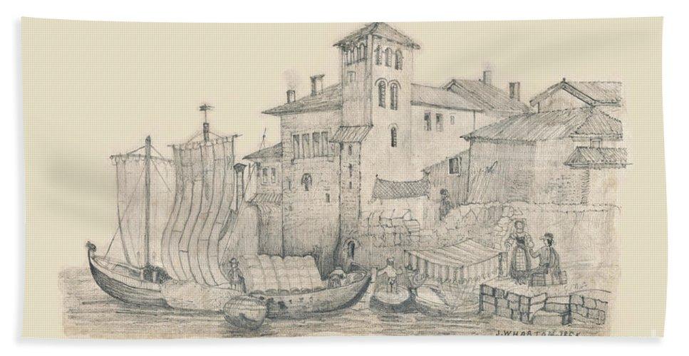 Meeting At The Docks Classics Beach Towel featuring the drawing Meeting At The Docks Classics 2 by Donna L Munro