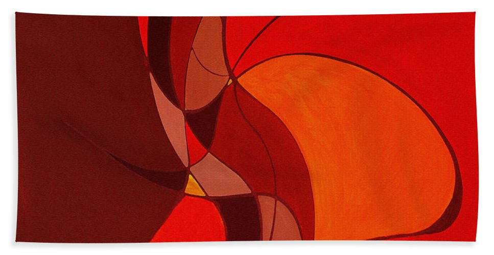 Abstract Beach Towel featuring the painting Meeting In The Middle 2009 by Ruth Palmer
