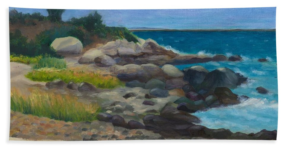 Landscape Beach Sheet featuring the painting Meigs Point by Paula Emery