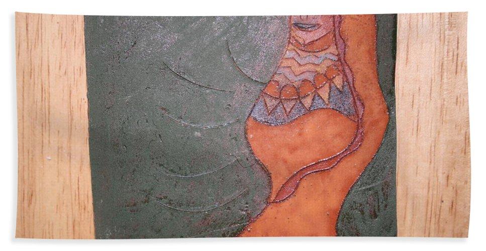 Jesus Beach Towel featuring the ceramic art Melissa - Tile by Gloria Ssali