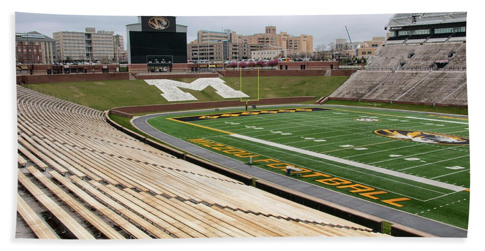 Faurot Field Beach Towel featuring the photograph Memorial Stadium by Steve Stuller